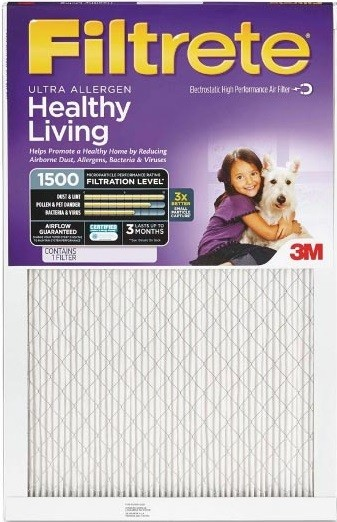 20 x 25 x 1 (19.6 x 24.6) Ultra Allergen Reduction 1500 Filter by 3M (4-Pack)