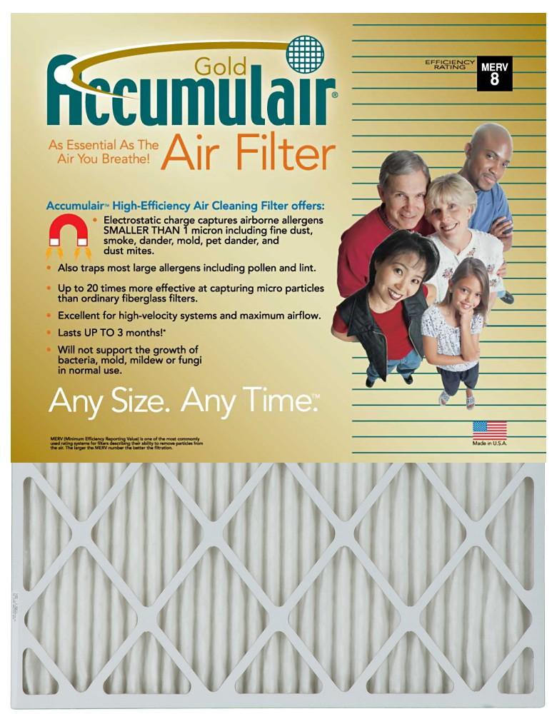 21 x 22 x 1 - Accumulair Gold Filter - MERV 8 4-Pack