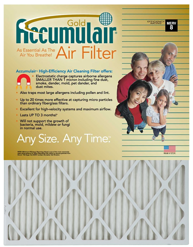 12 x 28 x 1 - Accumulair Gold Filter (Actual Size) - MERV 8
