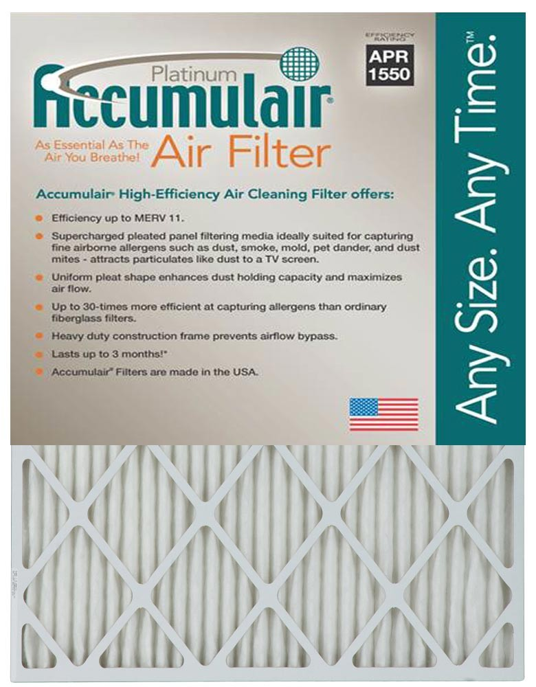 16x25x4 (15.5 x 24.5 x 3.75) MERV 11 Aftermarket Replacement Filter for Accumulair
