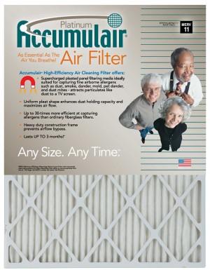 16 x 20-1/2 x 1 - Accumulair Platinum Filter (Acutal Size) - MERV 11