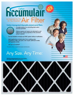 22 x 25 x 1 - Custom Accumulair Carbon Odor-Ban Filter (Actual Size)