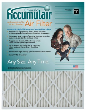 12 x 28 x 1 - Accumulair Emerald Filter (Actual Size) - MERV 6