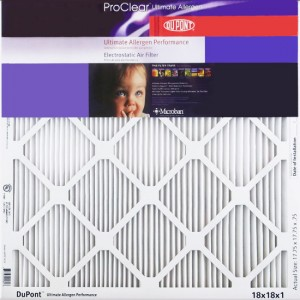 12x20x1 (11.75 x 19.75)  DuPont ProClear Ultimate Allergen Electrostatic Air Filter 2-Pack