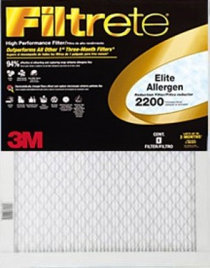 16 x 20 x 1 (15.6 x 19.6) Filtrete Elite Allergen Reduction 2200 Filter by 3M 4-Pack